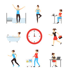 cartoon daily routine character woman vector image