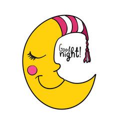 Cartoon sleeping moon in striped nightcap vector