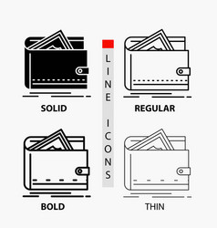 cash finance money personal purse icon in thin vector image