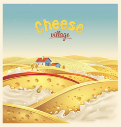 Cheese village - fictional landscape cheese vector