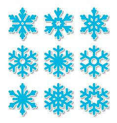 christmas snowflakes icon set vector image
