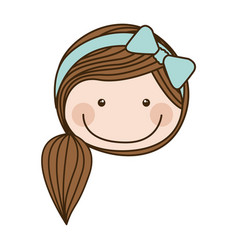 Colorful caricature front face girl with side vector