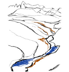 Contours of the mountains engraving vector