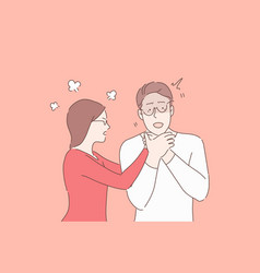 Couple quarrelling relationship conflict angry vector