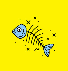 Dead fish icon vector