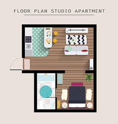 Detailed apartment furniture overhead top view vector image