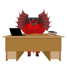 devil of workplace satan boss sitting in office vector image