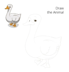 Draw animal goose educational game vector