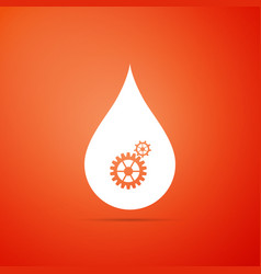 drop with gears icon isolated on orange background vector image