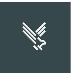 Eagle symbol minimalist style flat line vector