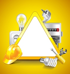 Electricity tools around warning triangle vector