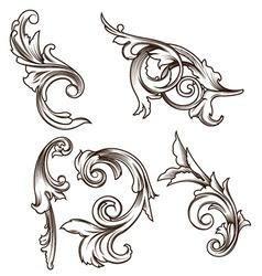 Engraved floral elements vector