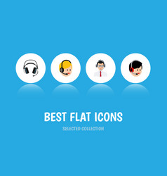 Flat icon center set of help earphone operator vector