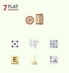 Flat icon entertainment set of backgammon mahjong vector