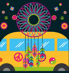 Free spirit van and dream catcher feather flowers vector