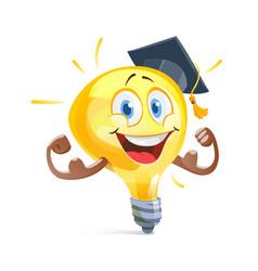 Funny idea lamp in graduation cap education vector