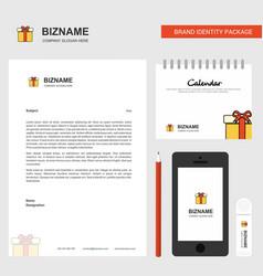 Giftbox business letterhead calendar 2019 and vector