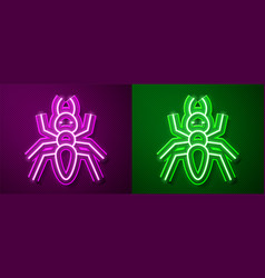 Glowing neon line ant icon isolated on purple vector