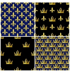 Golden crowns and fleur de lis seamless patterns vector image