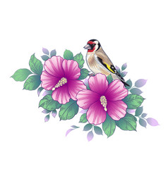 hand drawn goldfinch sitting on hibiscus branch vector image