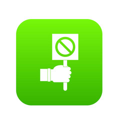 hand showing stop signboard icon digital green vector image