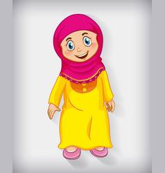 Happy muslim girl cartoon character vector