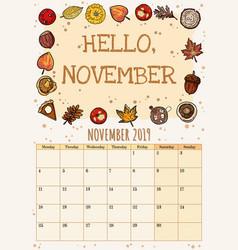 Hello november cute cozy hygge 2019 month vector