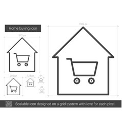 Home buying line icon vector
