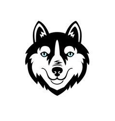 Husky head dog black and white design vector