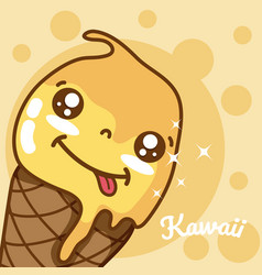 ice cream kawaii cute cartoon vector image