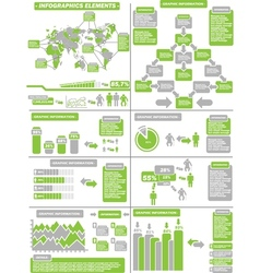 Infographic demographics green 11 vector