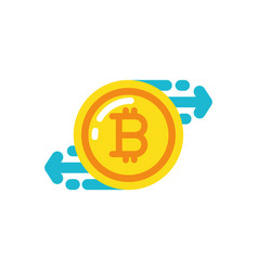 isolated bitcoin and arrows design vector image