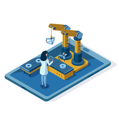 Isometric automated robotic arm engineering vector