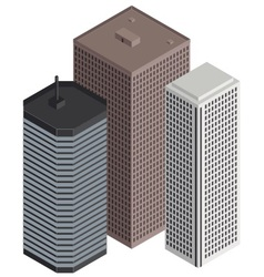 isometric city buildings vector image