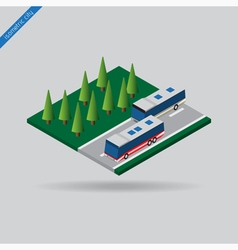 Isometric city - two buses on road and trees vector