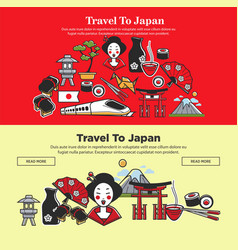 Japan travel web banners of japanese sightseeings vector