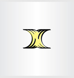 letter x yellow black icon logotype sign element vector image