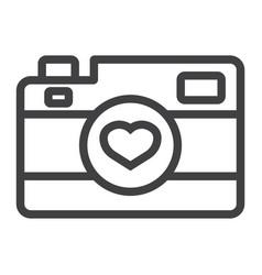 Love camera line icon valentines day and romantic vector