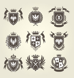 medieval royal coat arms and heraldic emblems vector image