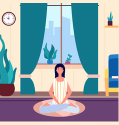 meditation woman girl keep calm in living room vector image