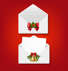 merry christmas envelope set isolated red vector image