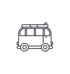 minivan for travel line icon concept minivan for vector image
