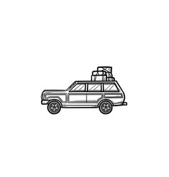 minivan with roof rack hand drawn outline doodle vector image