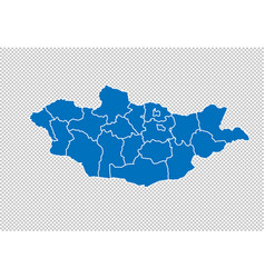mongolia map - high detailed blue map with vector image
