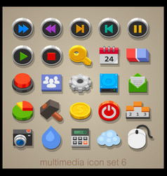 multimedia icon set-6 vector image