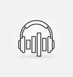 music headphones with equalizer icon in vector image