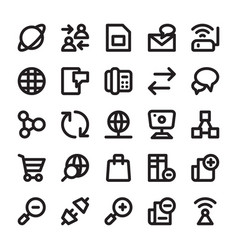 Network and communication line icons 14 vector