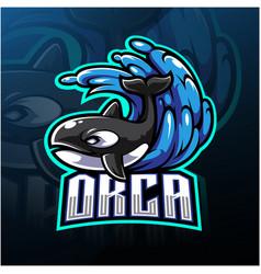 Orca esport mascot logo design vector