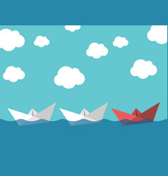 paper boats leadership concept vector image