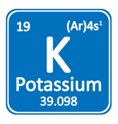 periodic table element potassium icon vector image